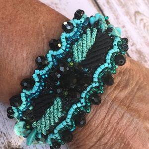 Jewelry - Czech Crystal Gemstone Guatemalan Cuff